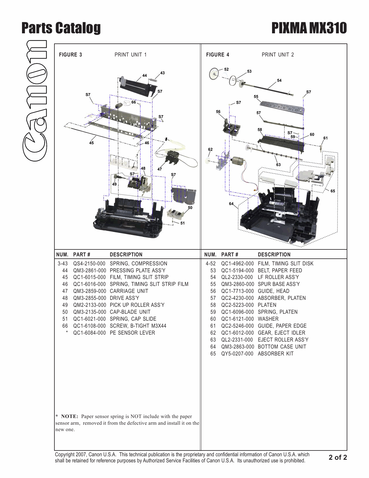 Canon PIXMA MX310 Parts Catalog-3